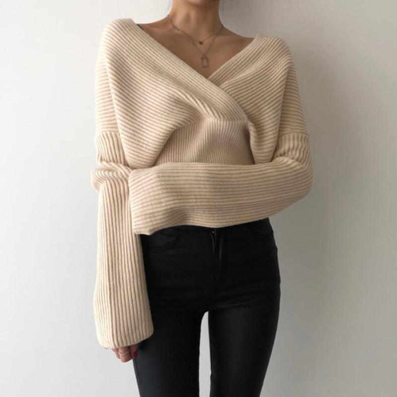 Осенний повседневный вязаный свитер Sexy V-образным вырезом с длинным рукавом Пуловер Свободные свитеры Женщины Мода Вечеринка Одежда