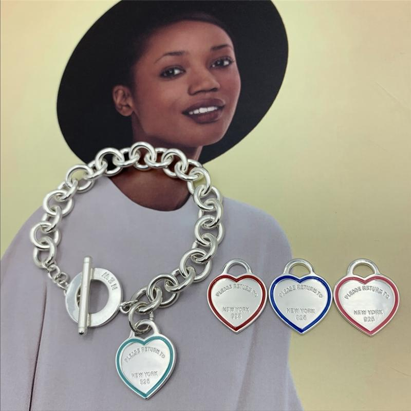 Sterling silver 925 Bracelet Heart-shaped Enamel bilateral accessories Rough Clavicle chain Circle buckle Women Jewelry gift 1028