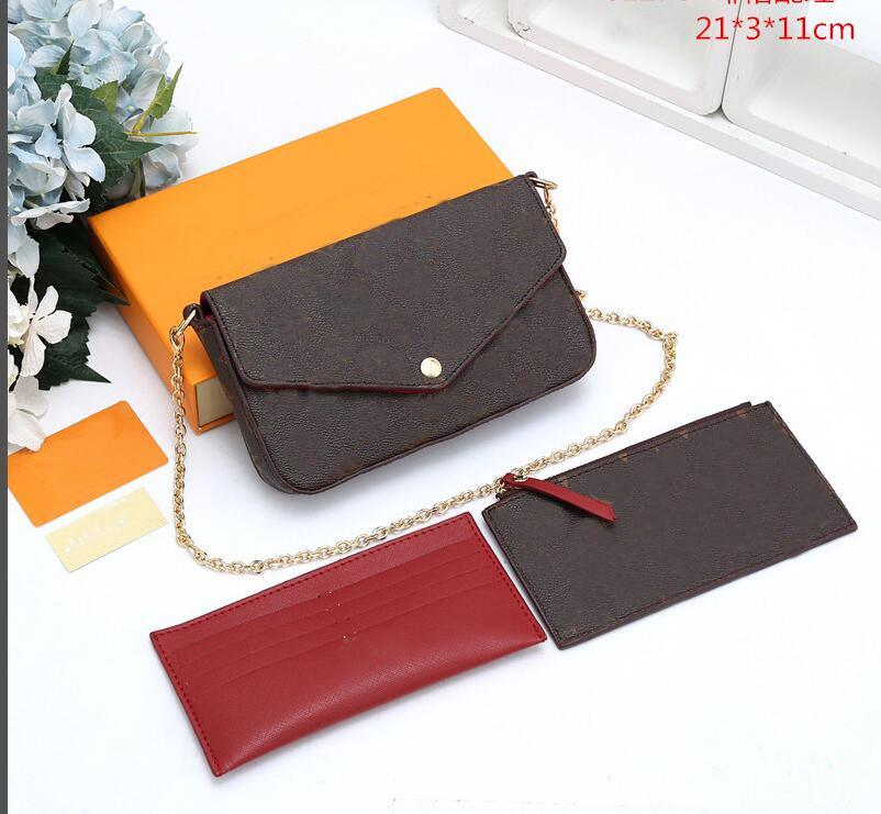 Portefeuille de sac de téléphone portable Trois pièces, Nouveau sac de chaîne de trois en un seul sac de messagerie à l'épaule détachable