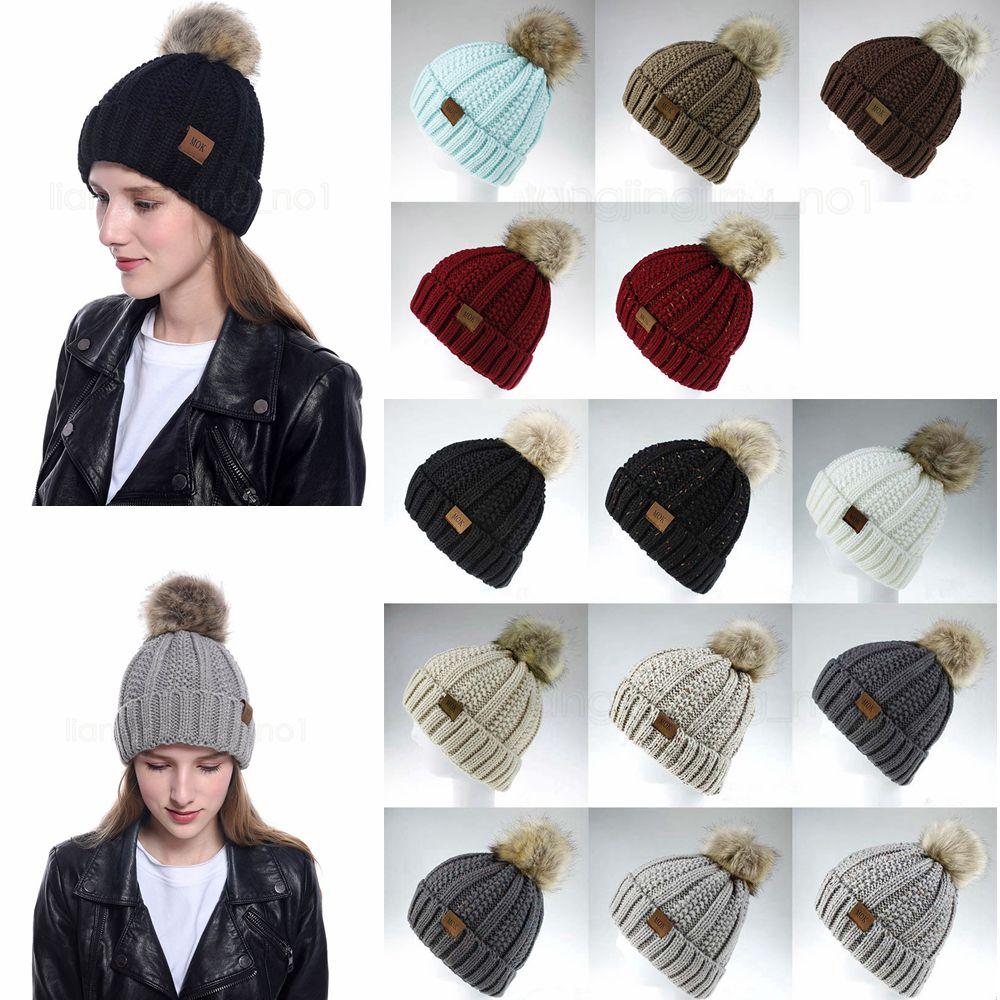14styles Girls Knit Cap Niño Crochet Pom Pom Gories Hat Ball Ball Hats Knit Outdoor Sport Caps Punto Chicas Accesorios FFA2949-2