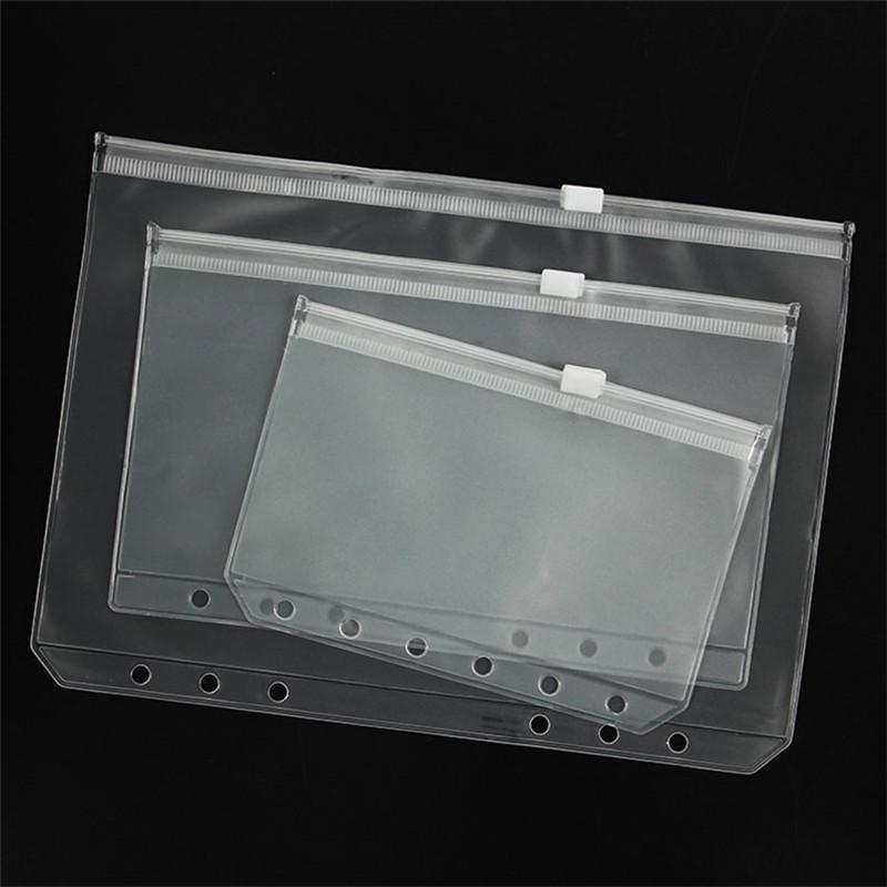 A5 / A6 / A7 PVC Bağlayıcı Temizle Fermuar Saklama Torbası 6 Delik Su geçirmez Kırtasiye Çanta Ofis Seyahat Taşınabilir Belge