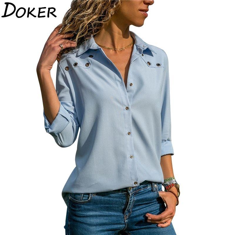 Camicette da donna a maniche lunghe a maniche lunghe in chiffon camicetta elegante camicetta di colore solido camicetta camicetta camicetta cardigan Top 201201