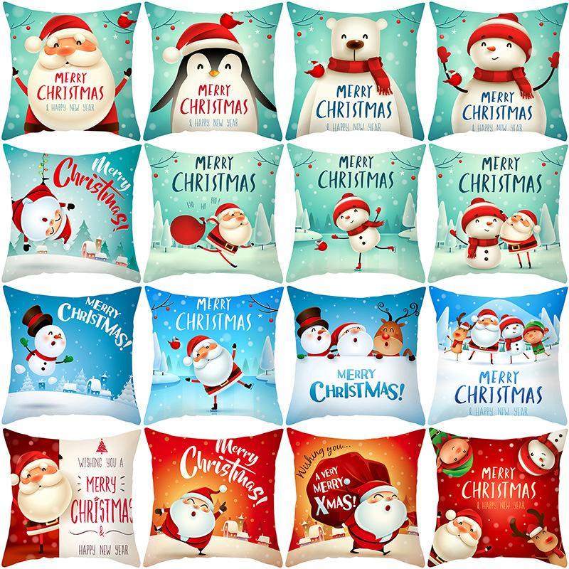 Taie d'oreiller pour les produits ménagers Cartoon Snowman Peach peau Sofa oreiller couverture