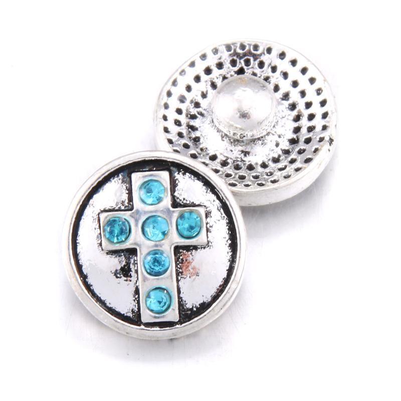 10pcs Lot Faith Cross Snap Jewelry Bottoni a scatto da 12 mm con il pulsante di fascino di strass Fit Braccialetti Braccialetti Braccialetti per le donne Gioielli H SQCCSW