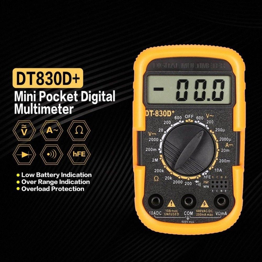 Новый DT830D + Мини карманный цифровой мультиметр 1999 Графы AC / DC Вольт Amp Ом Диод HFE Непрерывность тестер Амперметр Вольтметр DjyG #