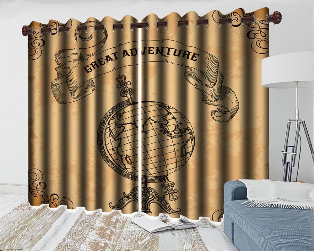 3d Cortina Quarto Atacado 3d Blackout Curtain Europeia Globe Sala Quarto Cozinha Janela cortinas Blackout