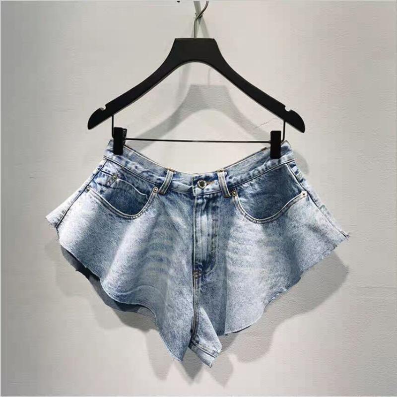 Женские джинсы 2021 летние нерегулярные шорты леди рюкзали широкие ноги короткие джинсовые брюки мода foomle