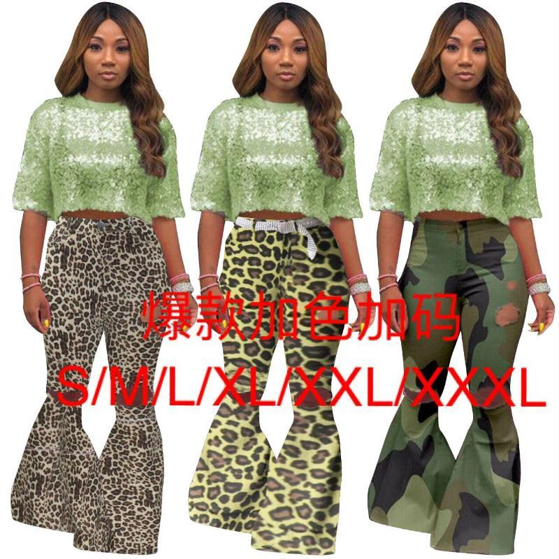 Avrupa ve Amerikan kadın giyim deliği alevlendi pantolon yüksek elastik kumaş 3 renk