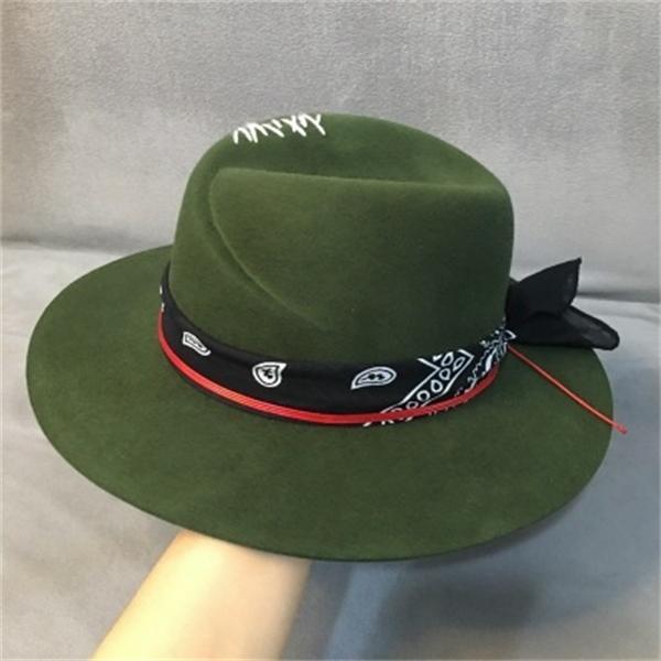 Ethnic Style Green Wide Brim Fedora Hat 100% Wool Women Felt Hats Panama Hat with Turban Ribbon Crushabley Porkpie Style C0123