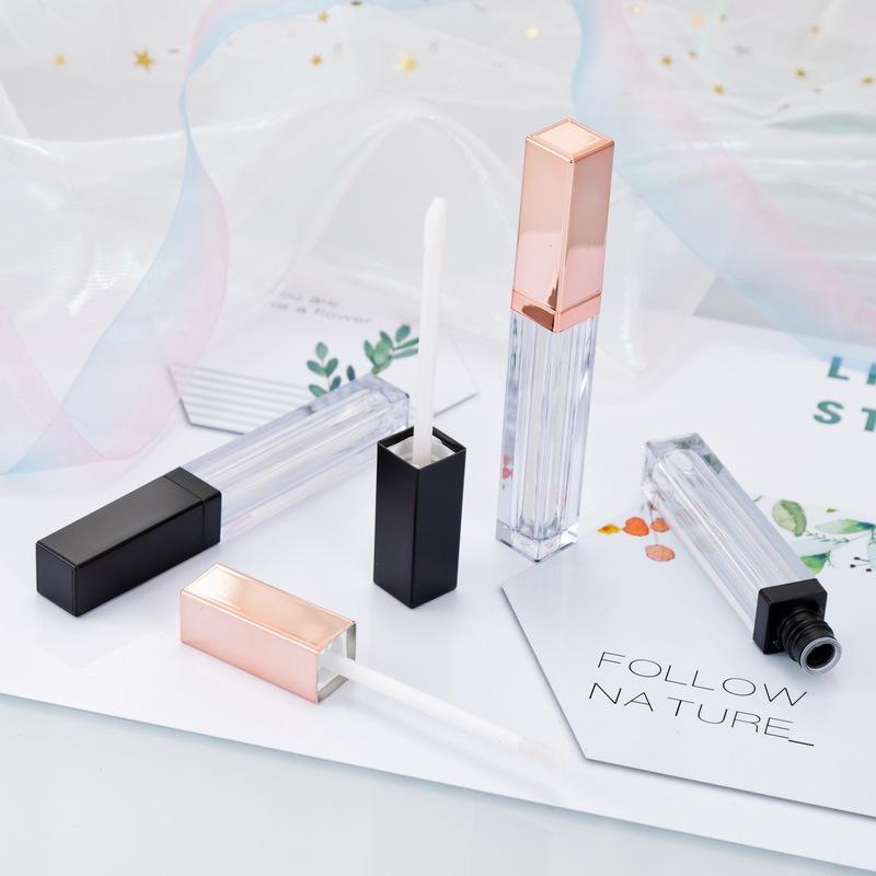 5ml contenitori di scatola di plastica del lipgloss vuota Vuoto Gold Rose Lipgloss Tube Eyeliner Eyeliner Contenitore Mini Lip Gloss Split Bottle HHA3476