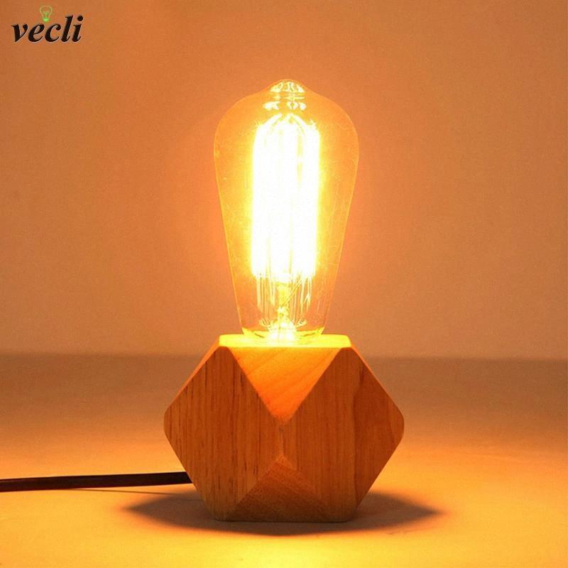 Современный твердой древесины настольные лампы гостиная спальня стольник тукпанги декор ретро есу штепсельный выключатель линии E27 деревянная тафельная лампа # AT8B