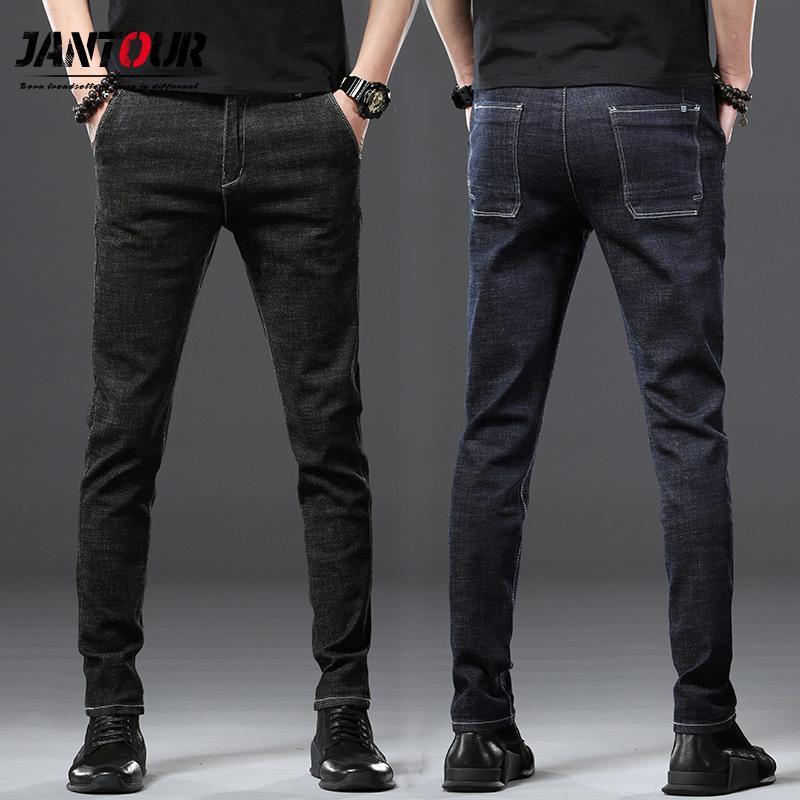 Pantaloni dell'uomo di Yong Jantour di marca 2020 nuovi arrivi Jeans Men Qualità maschio casuale denim pantaloni diritti Slim Fit Uomo Dark Blue