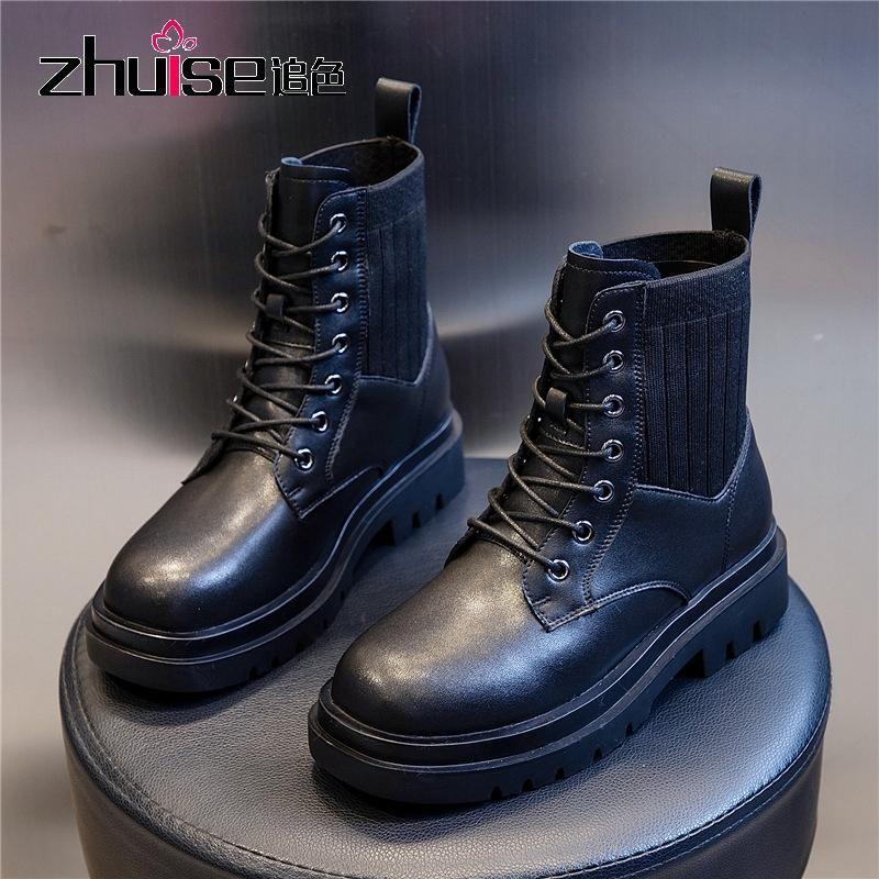 가을 부츠 여성 영국 스타일 두꺼운 뒤꿈치 짧은 부츠 여성 복고풍 캐주얼 가죽 여성 신발 양말 신발