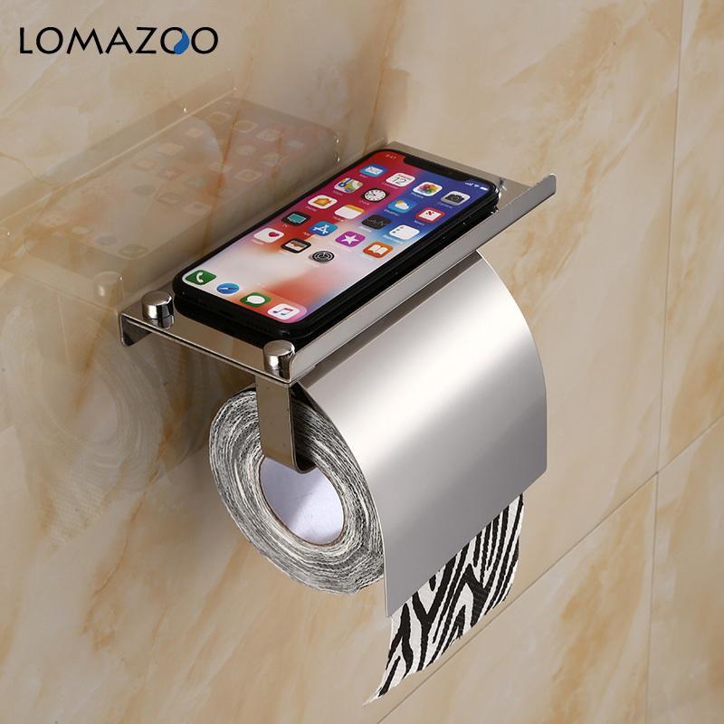Soporte de papel higiénico de montaje de pared conciso Baño de 4 colores de papel de acero inoxidable de acero inoxidable con estante de teléfono con BAF Y200108