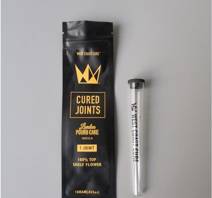 Coast Coast West Cure 3pcs 1pcs Borsa per giunti curati + Tubi di plastica Imballaggio 2020 Moonrock Preroll Pre-rotolato imballaggio tubo