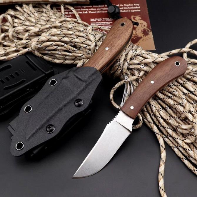 High Quality Survival Straight Knife 8CRV2 Stone Wash Blade Full Tang Wood Handle Fixed Blade Knives With Kydex