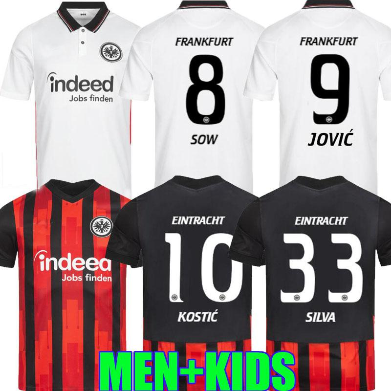 2020 Eintracht Frankfurt Kostic Fussball Jersey Jovic 20 21 Frankfurt Home Kamada Fernandes de Guzman Auswärts Silva Männer Kinder Fußball Uniform