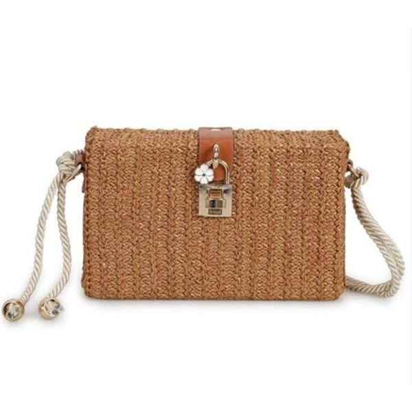 Mini box straw women's wear summer rattan woven beach cross body bag female lock handbag with flowers Q1104