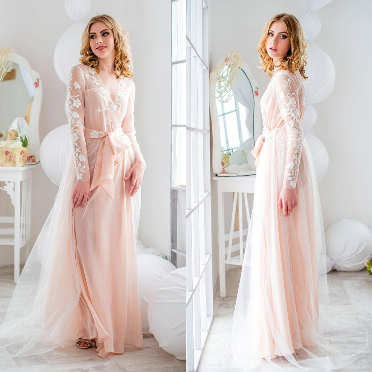 Nuevo elegante Tolla holdada rosa rosa Robas de noche Mujeres Ladies Ilusión Encaje Apliques Sleepwear Bathrobe Sheer Nightgowns