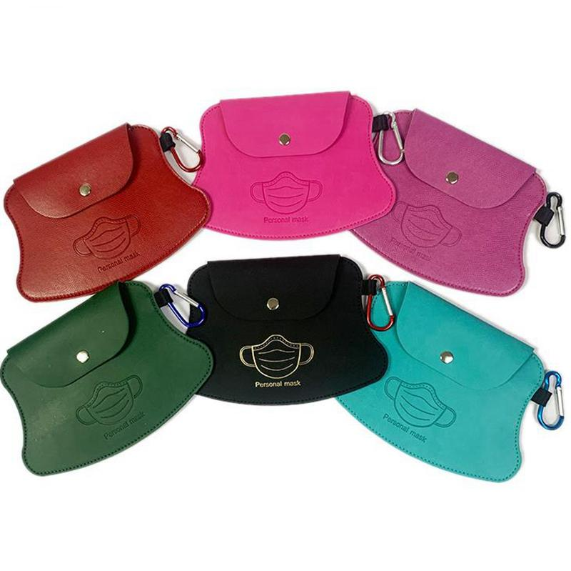 Mask Case Face Mask Holder PU Leather Facemask Clip Bag Portable Pouch Purse Bag Organizer Accessories 5 Colors YG818