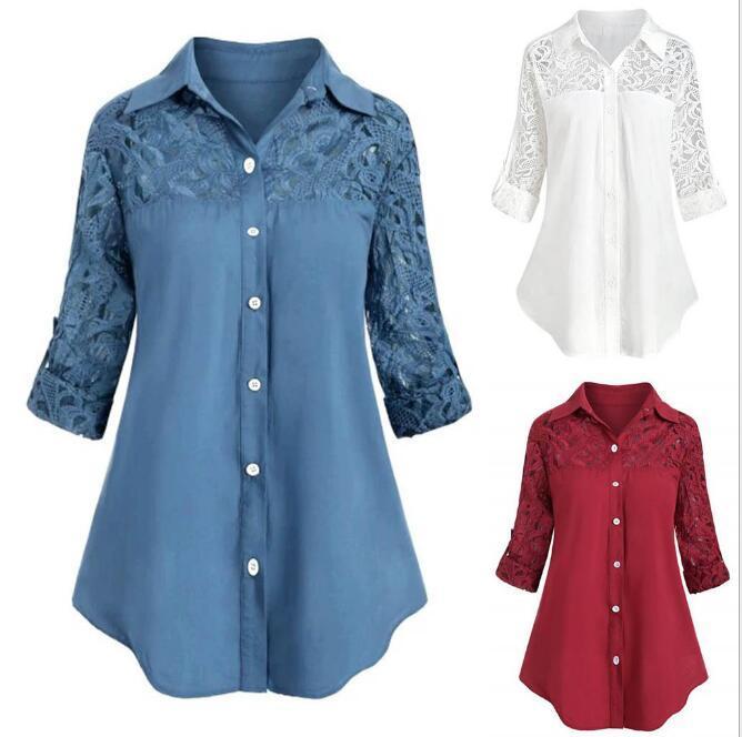 printemps Vente chaude et vêtements pour femmes en vrac d'automne en Europe et en Amérique, la dentelle couture grande taille revers chemise dames manches longues