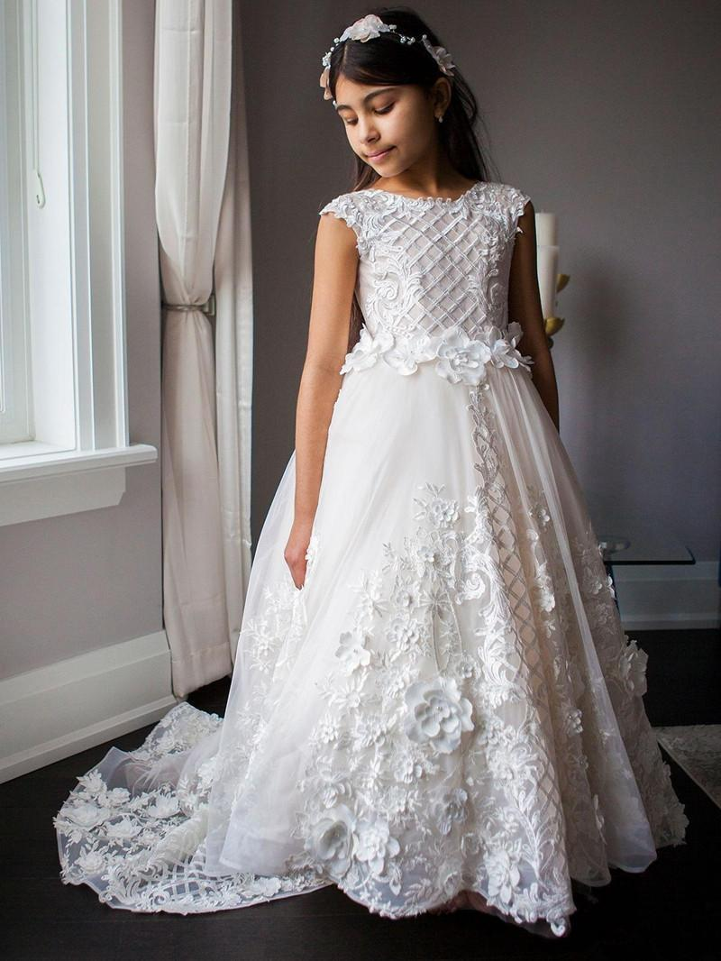 High Low Flower Girl Dresses for Wedding Cap Sleeve Jewel Neck Little Girls Pageant Dresses Party Kids First Communion Dress L94