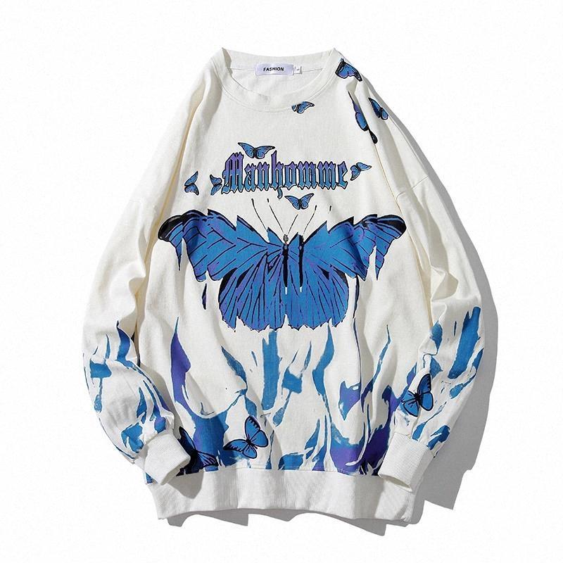 Butterfly fogo chama impressão suéna homem streetwear hip hop casual manga longa pulôver homens harajuku hipster moda tops # 618R