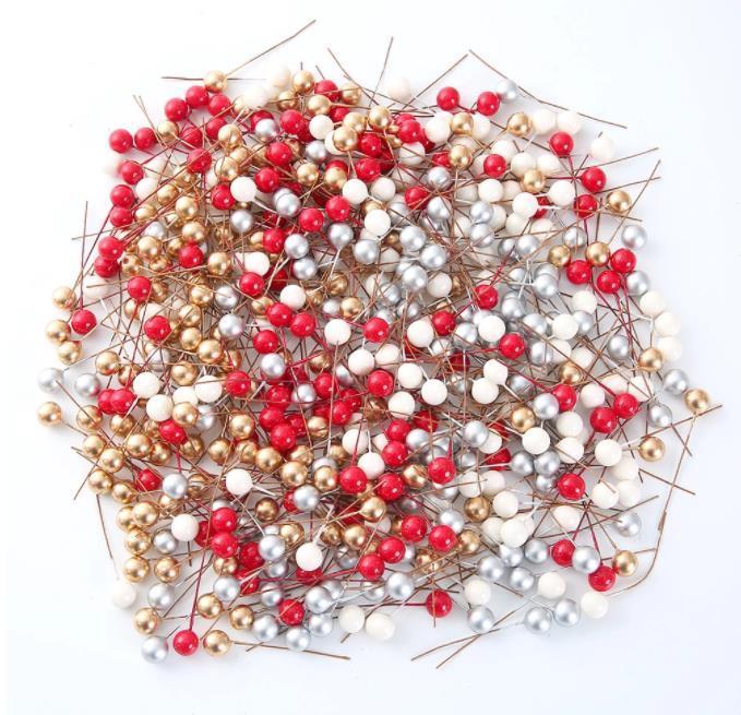 100pcs التي / الكثير وهمية صغيرة من البلاستيك زهرة التوت مصطنعة بيرليسسينت الكرز الأحمر السداة زفاف عيد الميلاد الديكور DIY هدية مربع