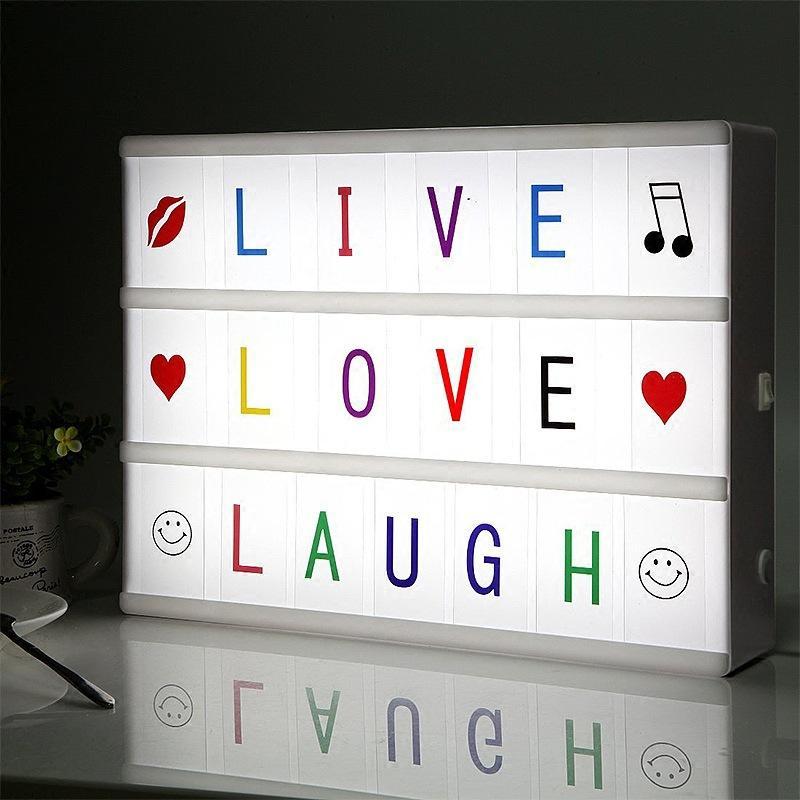 INS Popular Led Letras DIY Puzzle Light Box Decoração Proposta Props presente de aniversário Dia dos Namorados