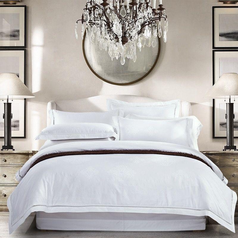 800TC Blanco Egipcio Algodón Satin Jacquard Juego de cama Juego de cama Rey Queen Tamaño de lujo 4PCS Hoja de sábana Hoja plana Cubierta de edredón Set T200822
