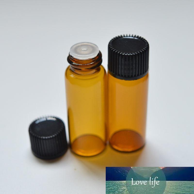 Мода 5мл Янтарная стеклянная бутылка с Orifice Reducer и крышка Бутылочка 50шт Эфирное масло