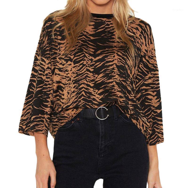 Vadim Mujeres elegante de leopardo camisa de tres cuartos o cuello suelto gasa vintage moda básica moda casual tops blusas xl tamaño damas l * 1