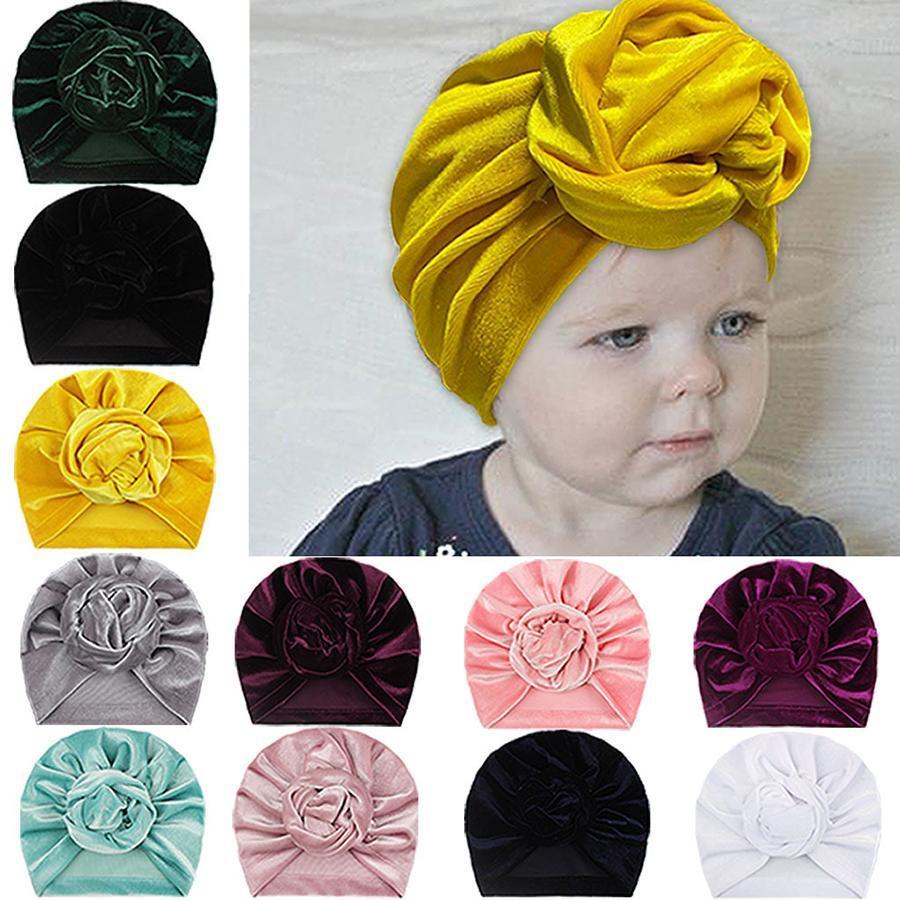 Baby-goldene Samt Indian Kappen Infant Verknotete Blumen Caps Kinder im Freien Slouchy Beanies Toddler Caps Säugling Hüte 11 Farben