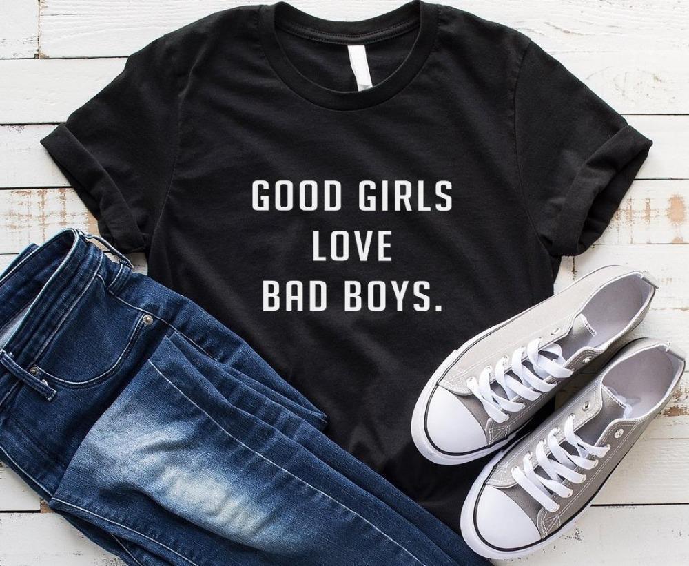 Boas meninas amam meninos maus mulheres camiseta algodão casual casual camiseta t camisa para senhora yong menina top toe hipster drop ship s-328