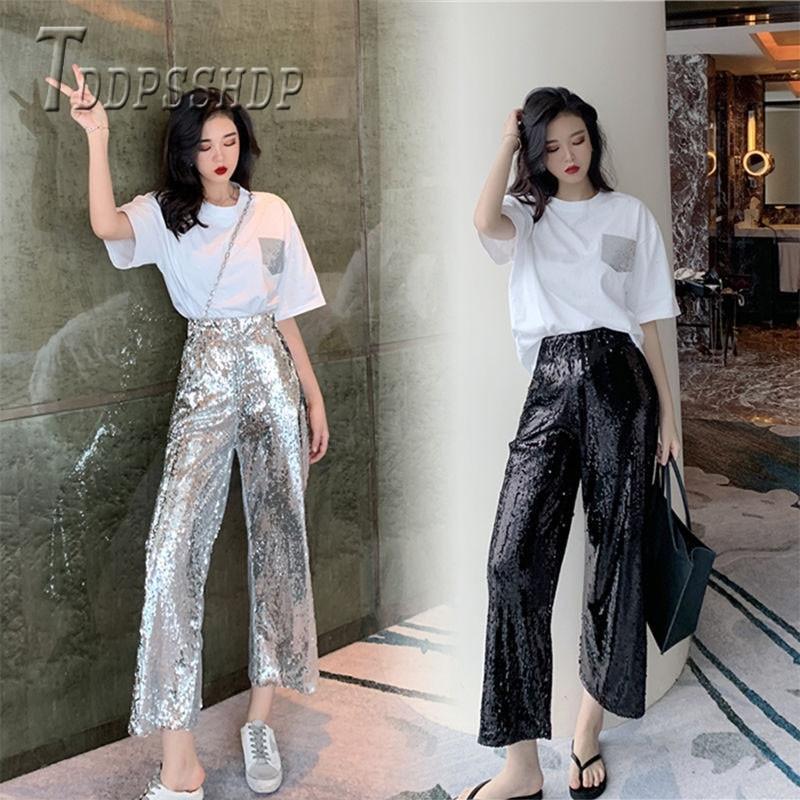 Pantalones de mujer color chic coreano pantalones de verano de primavera de verano y pantalones hembras negras y200114