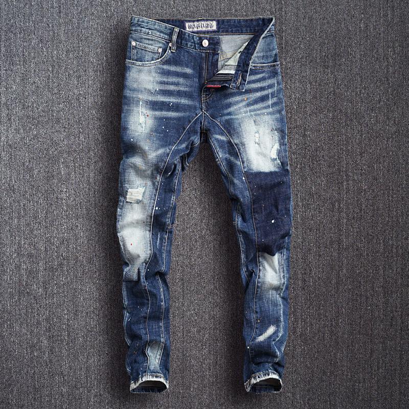 Jeans Menores Estilo Italiano Moda Hombres Color Azul Color Blanco Lavado Empalmado Diseñador Romado Punk Pants Streetwear Hip Hop Hop