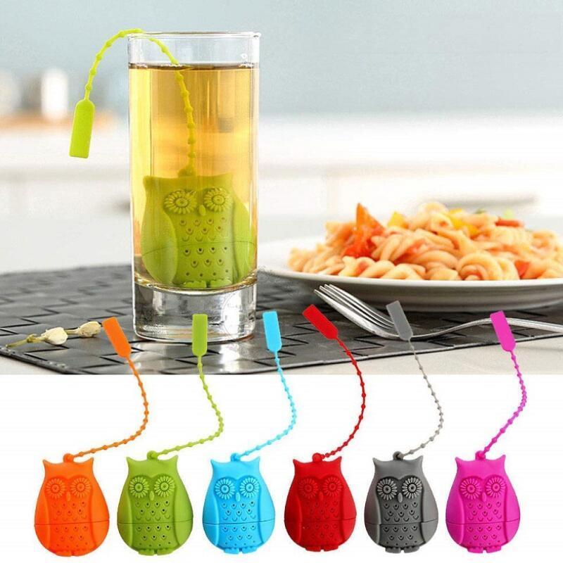Owl Tea Strainer Carino Fliter silicone Setaccio Bustine di tè Food Grade creativi a fogli Tea infusore Filtro Diffusore KKF2141