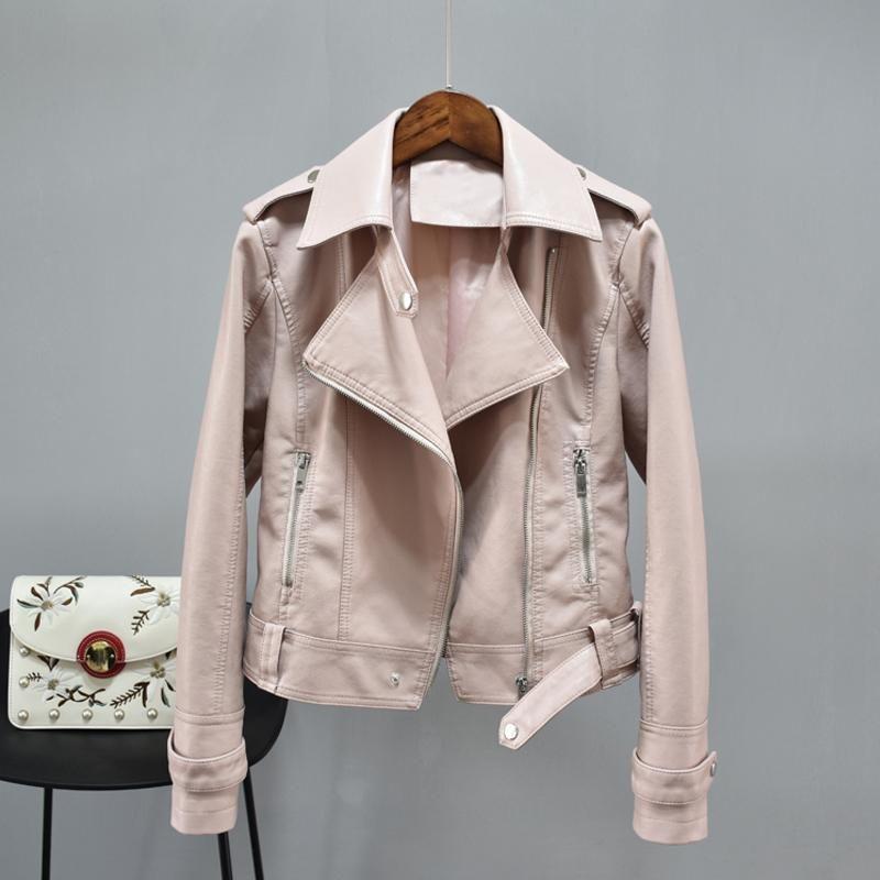 New Autumn PU Soft Leather Jackets Women Turndown Collar Zipper Slim Bike Faux Leather Coat Female Short Jacket Outwear