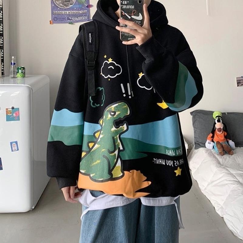 Deepown Hip Hop Hoodies Sonbahar Kış Giysileri Kadın Kore Tarzı Kazak Uzun Kollu Üst Kadın Harajuku Graffiti Hoodie 201113