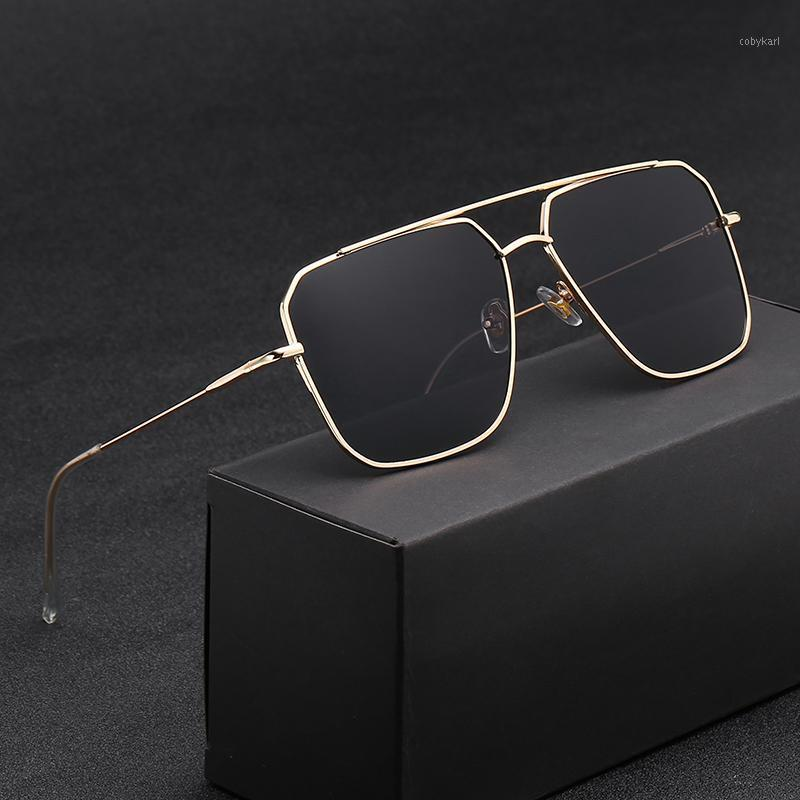 2020 Nuovi Occhiali da sole over Sized Occhiali da sole Uomini Anti-riflettente Specchio Classico Quadrato Quadrato Occhiali Metallo Vintage Moda Donna Occhiali da sole UV4001