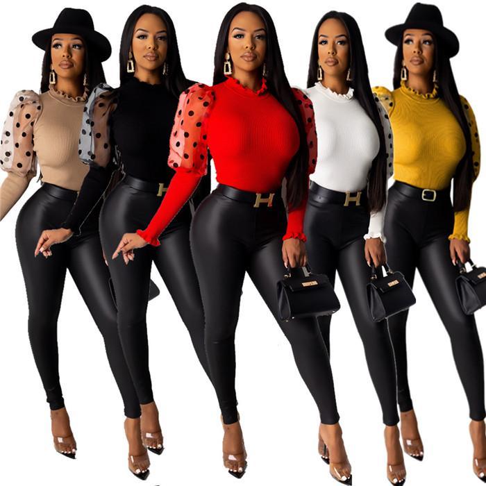 Hauchhülsent Shirts der Frauen Designer O-Ausschnitt Langarm Sexy Tops Kleidung Art und Weise beiläufige Normallack-Frauen T-Shirts