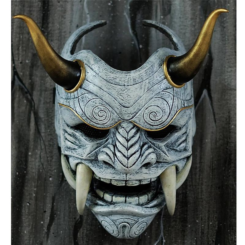 Evil Şeytan Şeytan Lateks Yarım Yüz Japonya Hannya Cosplay Parti Kostüm Maskeler Oni Perili Ev Cosplay Kostüm Partisi Dikmeler 201.026 Maske