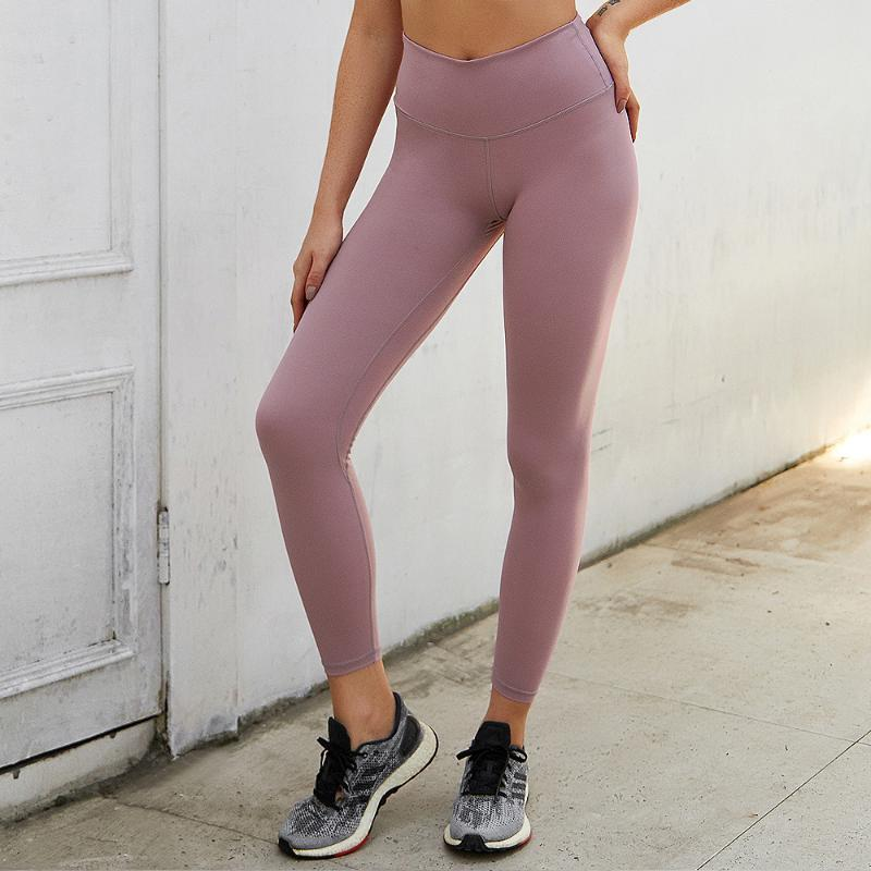HECATAL Nu Pantalons de sport Femmes Peach Hip Pantalon de remise en forme à double face Brocade Bare Sense avec le yoga Pocket Femmes Sport