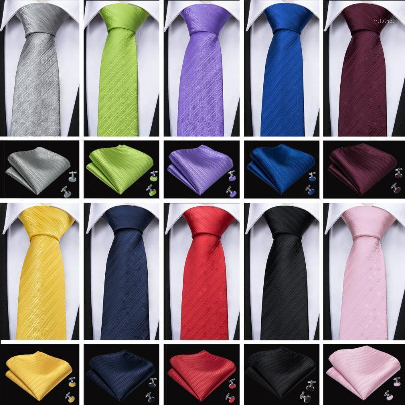 Barry.wang 11 couleurs cravate pour hommes pour hommes cravates en soie avec boutons de manchette HANKY SETS Cravate pour Homme Solide Cravat de Mariage Gravata1