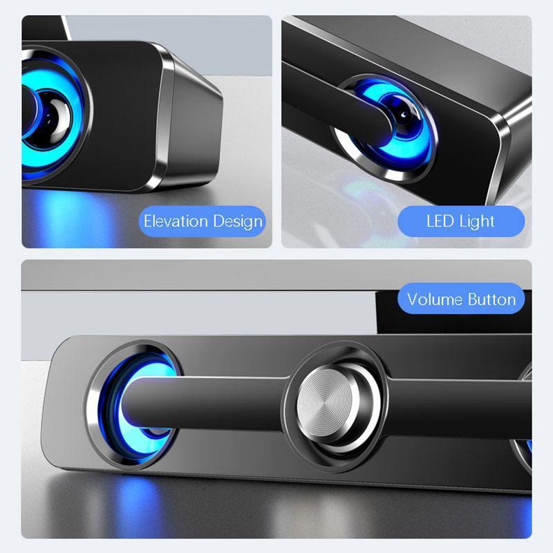 USB Bluetooth Speakers Bluetooth 5.0 estéreo portátil Speaker exterior com áudio HD e Hands-Free built-in rádio MP3.4