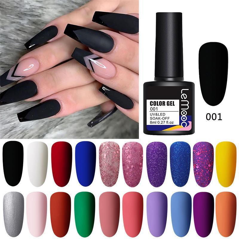 LEMOOC 8ml Basic Line Gel-Nagellack Color Gel Matteffekt Schwarz Weiß Rot Blau Semi Permanent Varnish Soak Off UV