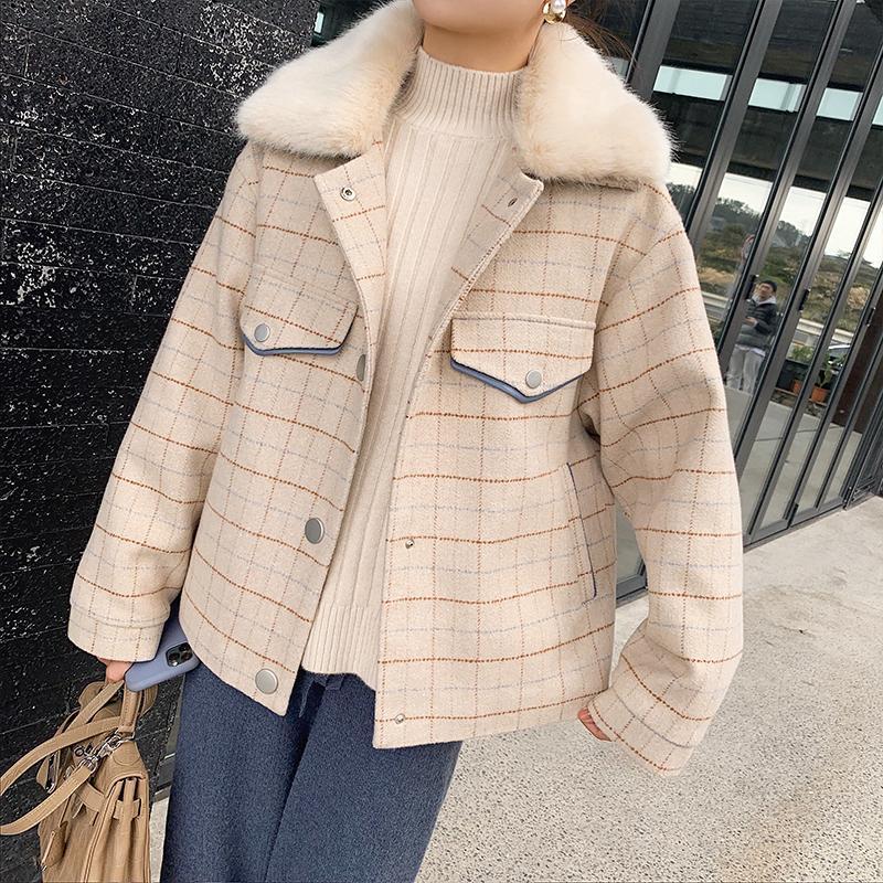 Cappotto MISHOW Atumn Winter Fashion albicocca plaid di lana del cappotto Donne causale lana d'agnello risvolto monopetto Tops MX19D9585 201009