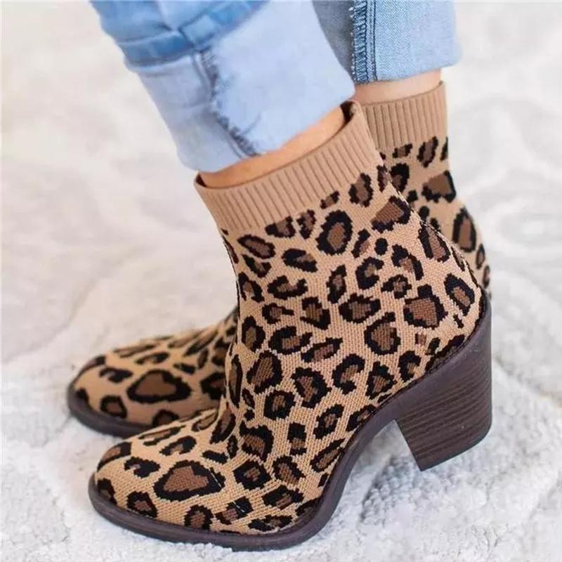 2020 осень зима Вязаные носки сапоги Эластичные Натяжные обувь квадратные Мода Женщина Ботильоны Леопард Каблуки Ladies пинетки Plus