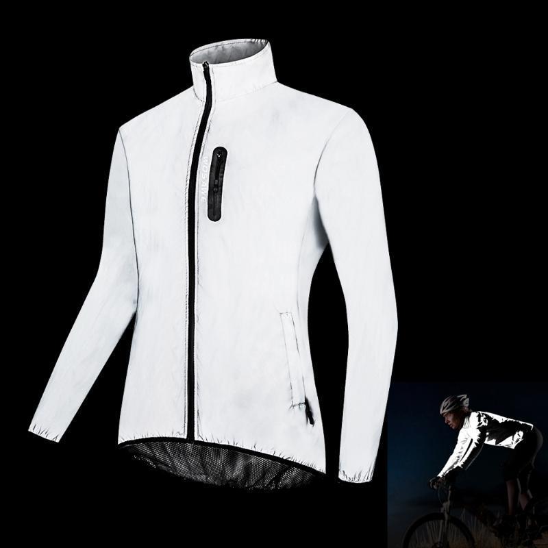 Wosawe erkek Yansıtıcı Bisiklet Ceket Gece Koşu Rüzgar Geçirmez Yağmur Geçirmez Sıcak Uzun Kollu Nefes Rüzgarlık Bisiklet Chothing
