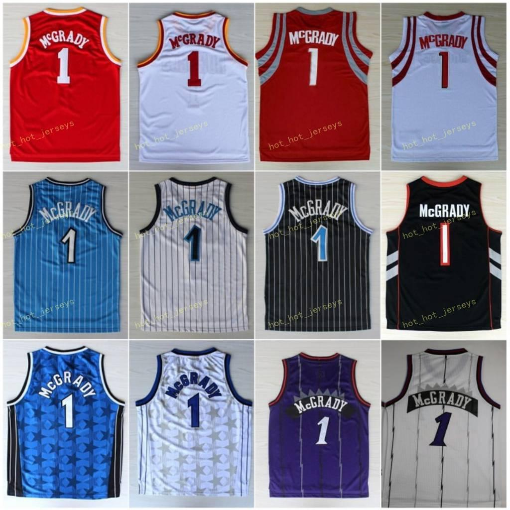 Vintage Tracy 1 McGrady Basketbol Forması Rev 30 Yeni Malzeme Siyah Mavi Beyaz Kırmızı Mor Dikişli